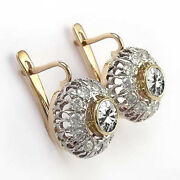 14k Solid Rose And White Gold Genuine Sapphire And Diamond Russian Earrings E1286