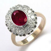 14k Rose And White Gold Genuine Ruby And Diamond G / Si1 Russian Style Ring R1804