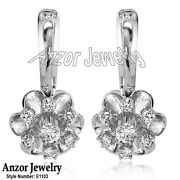 Russian Style Diamond Flower Earrings 14k Solid White Gold 585 English Lock Si1