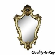 Vintage 25 X 16 Italian Hollywood Regency Gold White Shell Carved Wall Mirror