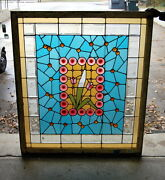Antique 1910s Arts And Crafts Stained Glass Window Original Floral Design
