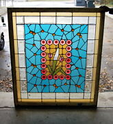 Antique 1910s Arts And Crafts Stained Glass Window, Original Floral Design