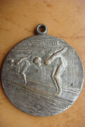 1930 Hungary Sport Swimming Competition Prize Award Silvered Medal Sign Ludvig