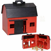 Large Toy Wood Red Barn Complete With Farm Animals And Fence - Amish Handmade Usa