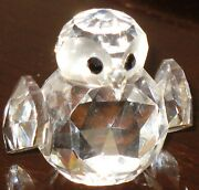 Vintage Lead Crystal Small Owl By Iris Arc, Acid Etched Signed 1.5 Tall No Box