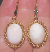 Antique Gorgeous 14k And 14k Gf Italy Angel Skin Coral Large Filigree Earrings Zz