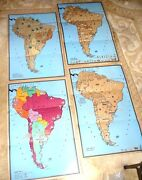 Lovely Set Of 4 Cartoon Maps Map South America By Raymond Elms 1940 In Original