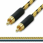 Gold Rca To Rca Audio Cable. Single Phono To Phono Lead. Vintage Cord. Subwoofer