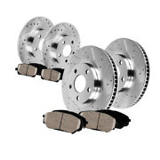 Front+rear Drill Slot 4 Brake Rotors And 8 Ceramic Pads For Golf Jetta Vw Beetle