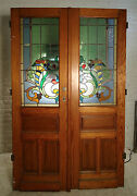 Pair Of Large Pitch Pine Stained Glass Doors 1864ns