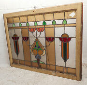 Vintage Stained Glass Window Panel 0207nj