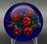 Randall Grubb Five Red Rose Flowers Art Glass 1990 Paperweight,apr 3wx2.5h