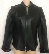 Anton Jacket Leather With Stitched Seams Zips To Top Size 4