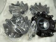 Avarus Wheels Black Custom Wheel Center Caps Ms-cap-z216 W/ Bolts Set Of 4
