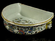 C1750 French Rouen Polychrome Faience Wall Fountain Base