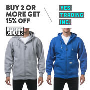 Proclub Pro Club Menand039s Heavyweight Full Zipper Hoodie Plain Zip Up Hooded Jacket