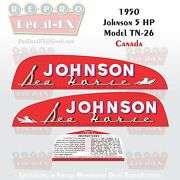 1950 Johnson 5hp Canada Model Tn-26 Outboard Reproduction 3 Pc Vinyl Decal