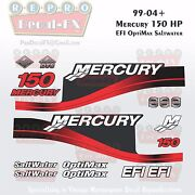 1999-04 Mercury 150hp Red Decals Efi Optimax Saltwater 15pc Repro Outboard 2004
