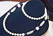 White Black Coral Amethyst Bead 8-10mm Hawaiian Round Necklace 30