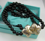 And Co Vintage Sterling Silver 18k Gold Ivy Onyx Bead Double Necklace