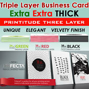 5000 Thick 38pt Triple Layer Black Center Trifecta Full Color Business Card