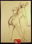 1981 Constance Stokes Signed Pastel Drawing Nude Hand On Stool Melbourne Vict