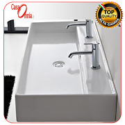 Lay-on Or Wall-mounted Washbasin With Two Tap Hole Teorema