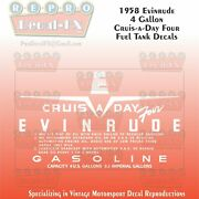1958 Evinrude 4 Gallon Us Cruise-a-day-four Fuel Tank Decals Repro 2pc Vinyl