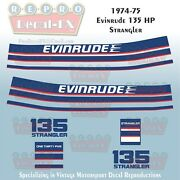 1974-75 Evinrude 135 Hp Strangler Outboard Reproduction 14pc Marine Vinyl Decals