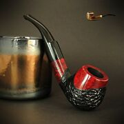 Hand Made Wooden Tobacco Smoking Pipe Bruyere No 72 Rustic Red Briar + Box