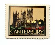 Vintage Poster Stamp Label Southern Railway Canterbury Cathedral Railroad