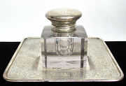 Crystal And Sterling Silver Ink Well Of Estate Of Ny Playwright Robert H Burnside
