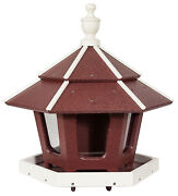 Large Gazebo Bird Feeder With 3 Compartments And Wrap Around Tray Handmade In Usa