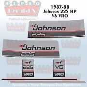 1987-88 Johnson 225 Hp V6 Sea-horse Outboard Reproduction 6pc Marine Vinyl Decal
