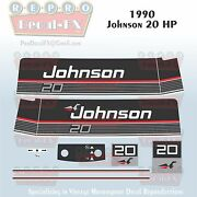 1990 Johnson 20 Hp Sea-horse Outboard Reproduction 11 Pc Marine Vinyl Decals