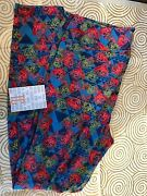 Lularoe Tc Leggings Colorful Triangles And Disney Roses Blue Pink Yellow Bnwt