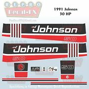 1991 Johnson 50 Hp Sea-horse Outboard Reproduction 9 Piece Marine Vinyl Decals