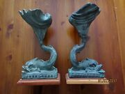 Antique Bronze Dolphin Hold Shell - France -pair Standandnbsp