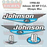 1998-02 Johnson 40 Hp 3cyl Olympic Blue Outboard Reproduction 4pc Vinyl Decal