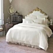 Italy Sferra Giza 45 Lace Egyptian Cotton Percale Duvet Cover With Lace-inset