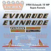 1954 Evinrude 15 Hp Super Fastwin Outboard Repro 8 Pc Vinyl Decals 15012-15013