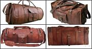New Men Genuine Leather Large Vintage Duffle Travel Gym Weekend Bag 4 Bags Combo