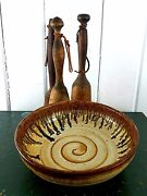 Vtg Signed Art Studio Pottery Glazed Ceramic Brown Drip Salt Glaze Swirl Bowl