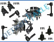 New 10pc Front Wheel Hub And Bearing Suspension Kit W/ Abs 2wd Coil Spring Susp.