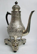 Antique Dutch Silver Frisian Style 16 Coffee Pot Silver Burner And Stand