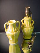 Scarce Red Wing Art Pottery Yellow Handled Vase And Boudoir Lamp 228 1931 Art Deco