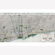 Map Of Elevated Railroads Of Chicago 1908 Antique Birdseye Map Custom Printed