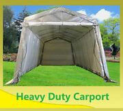 Save Carport 24and039x13and039 Grey White - Garage Storage Canopy Shed