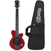 Pignose Pgg-200 Mini Electric Travel Guitar W/ Built-in Amp And Gig Bag, Candy Red