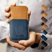 Leather Case For Samsung Galaxy. Free Personalization. Pouch With Card Pocket